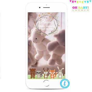 Woodland Snapchat Geofilter, Woodland Baby Shower, Woodland Animals Snapchat Filter, Baby Shower Boy, Baby Shower Geotags, Instant WD01