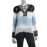 MICHAEL Michael Kors Womens Crepe Embellished Pullover Top