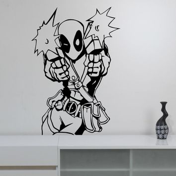 Deadpool Vinyl Decal Wall Sticker Marvel Comics Superhero Art Decoration Living Room Playroom Children Boys Room Decor WW-84