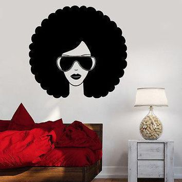 Wall Vinyl Music Black Afro American Girl Guaranteed Quality Decal Unique Gift (z3551)