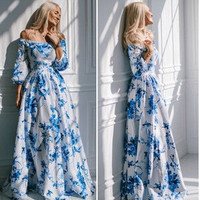 Star Print Ball Gown Hot Sale Prom Dress [6338932289]
