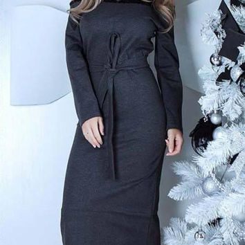 New Grey Patchwork Lace Bow Boat Neck Long Sleeve Casual Midi Dress