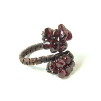 Garnet copper ring, adjustable stone ring, handmade antiqued jewelry MADE TO ORDER