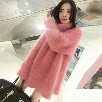 Oversized Loose Faux Mink Velvet Turtle Neck Pullover Hairy Sweater Long Knitted Long Sleeved Shirts Rabbit Dress Plush Tops