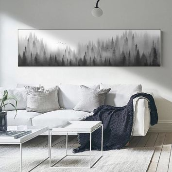 Minimalist Landscape Forest Woodland Canvas Paintings Nordic Wall Art Pictures Poster Print for Living Room Home Office Decor