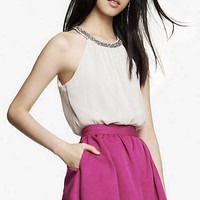 NECKLACE TRIM HIGH NECK BLOUSON CAMI from EXPRESS