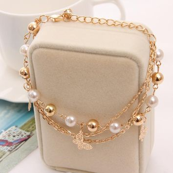 Bohemian Gold Plated Chain Multilayer Beads Stretch Charm Bracelet & Bangle For Women pulseras mujer bracelet -0411