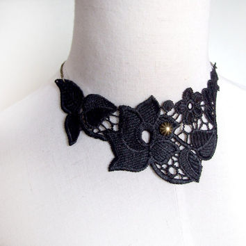 steampunk black lace bib necklace gothic choker flower victorian  retro vintage art deco SALE medieval gift jewelry
