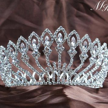 Floral Full Round Wedding Bridal Crown Tiara Flowers Headband Austrian Rhinestone Crystal Pageant Party Costumes Accessories