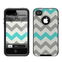 iPhone 4 /4S Case [Black] Chevron Grey Teal[Dual Layer] UnnitoTM *1 Year Warranty* Case Protective [Custom] Commuter Protection Cover [Hybrid]