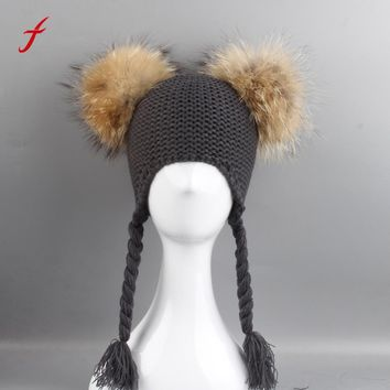 Unisex hat cap High quality cotton Slouchy Knitting Beanie Boy girls Cap With Real Raccoon Fur ball Hat Tassel braids Warm Hats