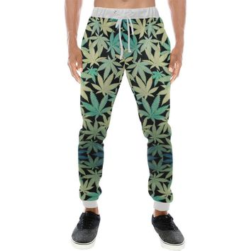 Black Kush Design 1 Men's All Over Print Casual Jogger Pants