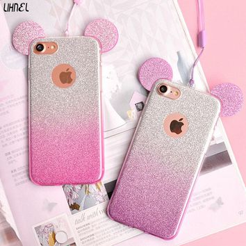 LIHNEL Gradient Glitter Shining Bling Mickey Minnie Mouse Ear TPU Back Shell Cover for iPhone 5 5S SE 6 6S 6plus 6S plus 7 7plus