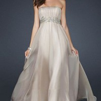 Charming Strapless Nude Leafs Waist Long Prom Dress
