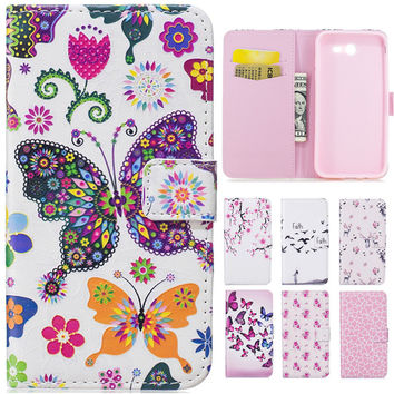 Luxury 3D Cute Catoon Butterfly Lovers Flower Leather Flip Fundas Phone Cases For Coque Samsung Galaxy J3 2017 Back Cover Case