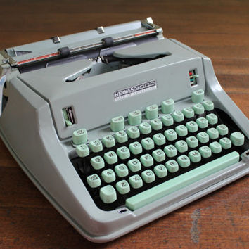 Vintage Hermes 3000 Portable Typewriter With by TheBorrowedBicycle