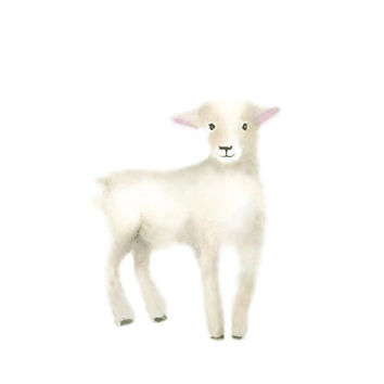 Lamb Nursery Art, Baby Animal Painting, Farm Animal Print, Farm Nursery, Childrens Art, Baby Wall Decor, Animal Print, Nursery Animal Art