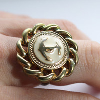 Nautical Anchor Ring | Vintage Button Top | Statement Ring | Adjustable