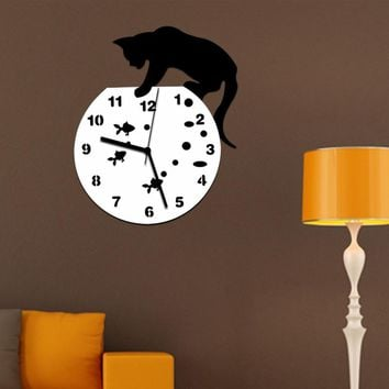 2017 Naughty Cat Acrylic Clock Wall Clock Home decor