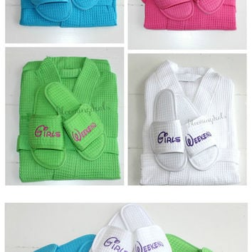 Kimono Spa Robe and Slipper Set, Girls Weekend Spa Set, Personalize Gift Custom Embroidery by Bloomingdeals