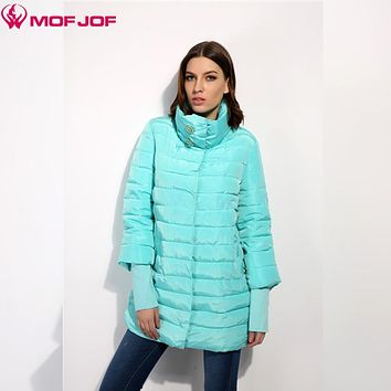 MOFJOF 2017 Spring Warm Cotton Jackets  padded Coat Women Clothing Ribbed cuffs thin jacket Crystal buttons Park Jacket 1602#