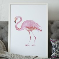 Framed Bird Wall Art – Flamingo