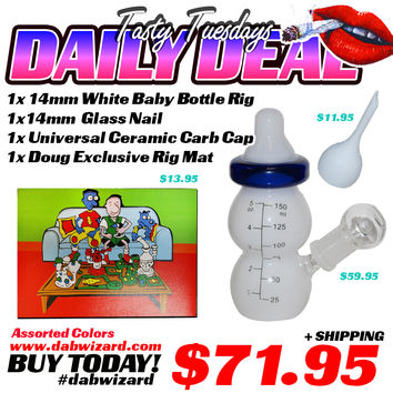 DAILY DEAL 03/31/2015 - 1x 14mm White Baby Bottle Rig + 1x 14mm Glass Nail + 1x Universal Ceramic Carb Cap + 1x Doug Exclusive Rig Mat