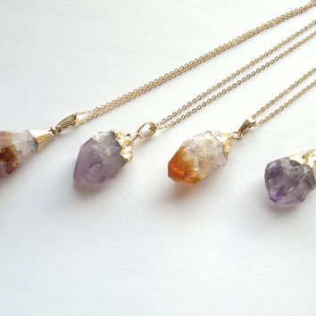 Citrine Necklace Amethyst Necklace Citrine Jewelry Amethyst Jewelry Raw Rough Gold Dipped Citrine Crystal Necklace Boho November Birthstone