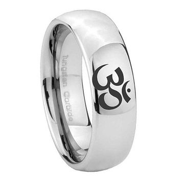 8MM Classic Mirror Dome Ohm Design Om Yoga Tungsten Carbide Silver Engraved Ring