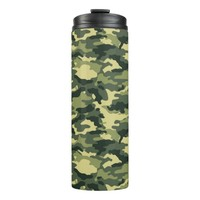 Green Camouflage Pattern Thermal Tumbler