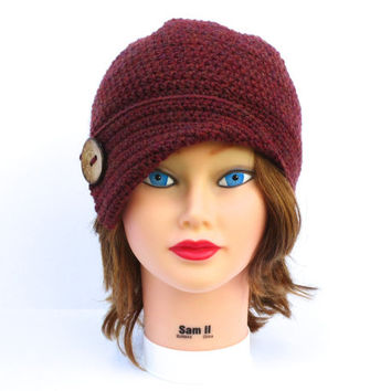 Crochet Cloche Hat With Button In Spiced Wine - 1920's Inspired Flapper Style Hat - Women's Cloche - Wool Hat - Winter Headwear