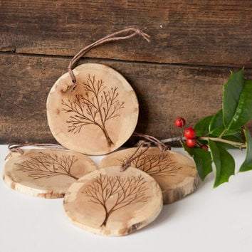 Wood burned tree ornament on spalted pine. Double sided rustic wooden christmas ornament.