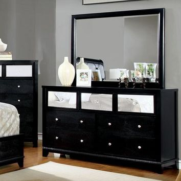 Spectacular And Striking Wooden Textured Dresser In Contemporary Style, Black