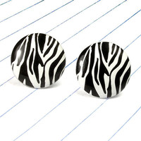 zebra print earrings - zebra jewelry - zebra studs - zebra - animal print - black and white - animal print earrings - animal print jewelry