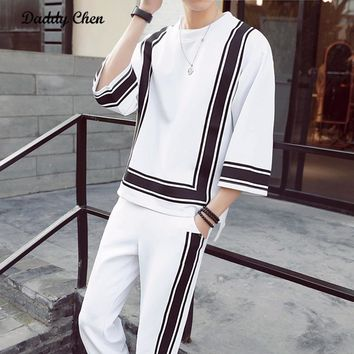 Daddy Chen 2017 Autumn Casual Black White Men Clothing Set O Neck Three Quarter Sleeve Fashion Suits Loose Male Tops Pants