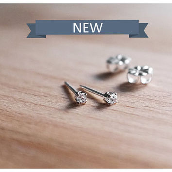 Tiny CZ Stud Earrings - Argentium Sterling Silver CZ 2mm Diamond Studs - Simple Minimalist Everyday Jewelry LITTIONARY
