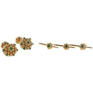 Tiffany & Co. Emerald Gold Cufflinks Stud Dress Set
