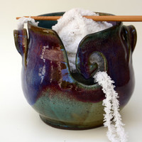 Purple Pottery Yarn Bowl . Medium Yarn Bowl / Knitting Bowl - IN STOCK - Ready to Ship - Purple and green Glaze