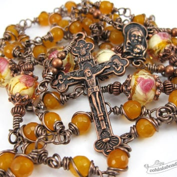 Unbreakable Yellow Jade Rosary confirmation gift yellow rosary catholic gift keepsake rosary catholic rosaries unbreakable rosary copper