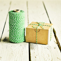 Baker's Twine in Green & White - 10 Yards - Bakers Packaging Gift Wrapping String Cord Trim Ribbon Pretty Vintage Party Crafting Decor