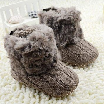 Baby Fashion Knit Fleece Boots Winter Warm Booties
