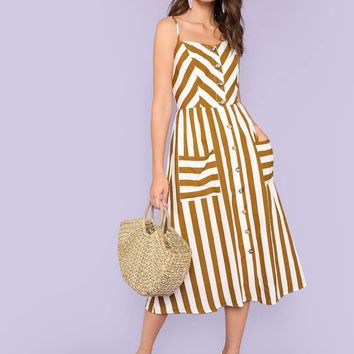 Button Up Pocket Front Striped Slip Dress