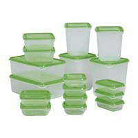 PRUTA Food container, set of 17, clear, green - IKEA