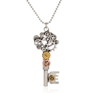 1Pcs Vintage Key Heart Necklaces Shellhard Retro Steampunk Machinery Gears Pendant Chain Necklace For Men Jewelry Gifts