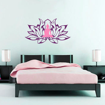 Wall Decals  Lotus Flower Flora Meditation Yoga Buddha East Eastern Art Bedroom Living Any Room Vinyl Decal Sticker Home Decor Murals  ML136