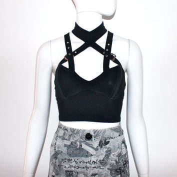 90s Black CAGE Goth Crop Harness bustier buckled Choker Top XS S