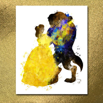 Beauty and the Beast Print, Watercolor Disney, Disney Print, Kids Print, Nursery Poster, Nursery Print, Digital poster, Digital Print