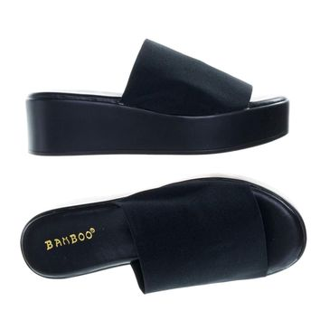 Bonus02 Black Sgg by Bamboo, Platform / Flatform Slide Slipper Sandal Mule Slinky Elastic Single Band