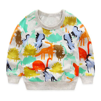 Christmas Baby Boy Clothes T shirt Autumn Cartoon Dinosaur Print Boy Baby Clothes T-shirt  Brand Kids Leisure Top Girl