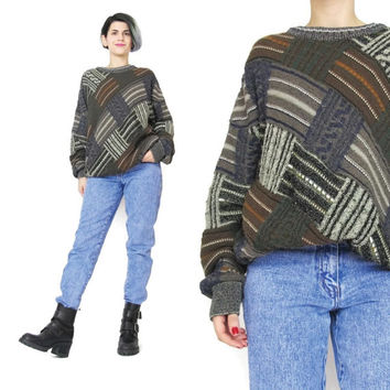 1990s Grandpa Sweater Striped Patchwork Sweater Vintage Mens Sweater Brown Gray Abstract Print Sweater Geo Winter Knit Unisex Sweater (M)